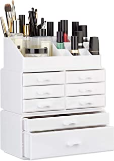 Relaxdays Organizer with Drawers, Stacking Makeup and Jewellery Box, Acrylic Cosmetic Kit, White, 14 x 24 x 30 cm