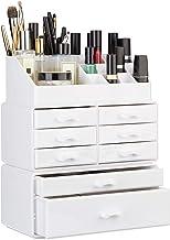 Relaxdays Make-up organizer met schuifladen, stapelbaar cosmetica-rek voor sieraden en make-up, make-up opslag, wit