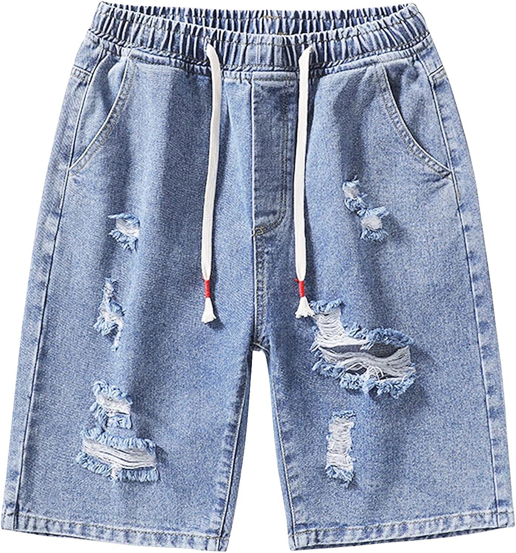 Men's Summer Knee Length Ripped Short Jeans Drawstring Comfy Elastic Waist Denim Shorts Loose Straight Jean Short-Pant