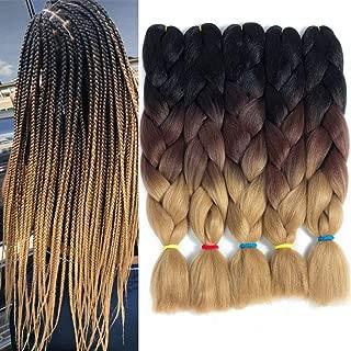 5 Packs/Lot Kanekalon Jumbo Braiding Hair for Twist 24 Inch Crochet Braids Hair 3 Tone Synthetic Hair Extensions (Black-Dark brown-Light Brown)