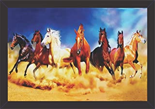 Mad Masters Canvas 7 Running Horses Vastu Wall Painting with Frames (UV Textured Print, 19 x 13 inch)