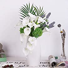 YUYAO Calla Lily Artificial Flowers Bridal Wedding Bouquets Latex Real Touch Lillies Flower Arrangements for Home Party (White, 3)