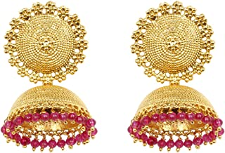 Ratna Indian Bollywood Gold Plated Pink Pearl Wedding Partywear Jhumka Jhumki Earring Set Bollywood Jewelry