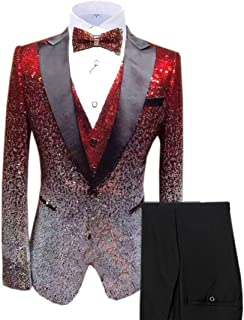 Men's Suits 3 Pieces Slim Fit Shiny Gradually Changing Color Mens Suit One Button Groom Tuxedo for Wedding