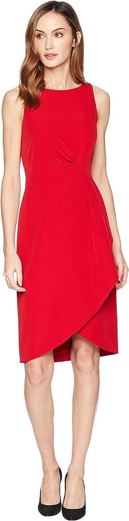Side Draped Sleeveless Crepe Dress