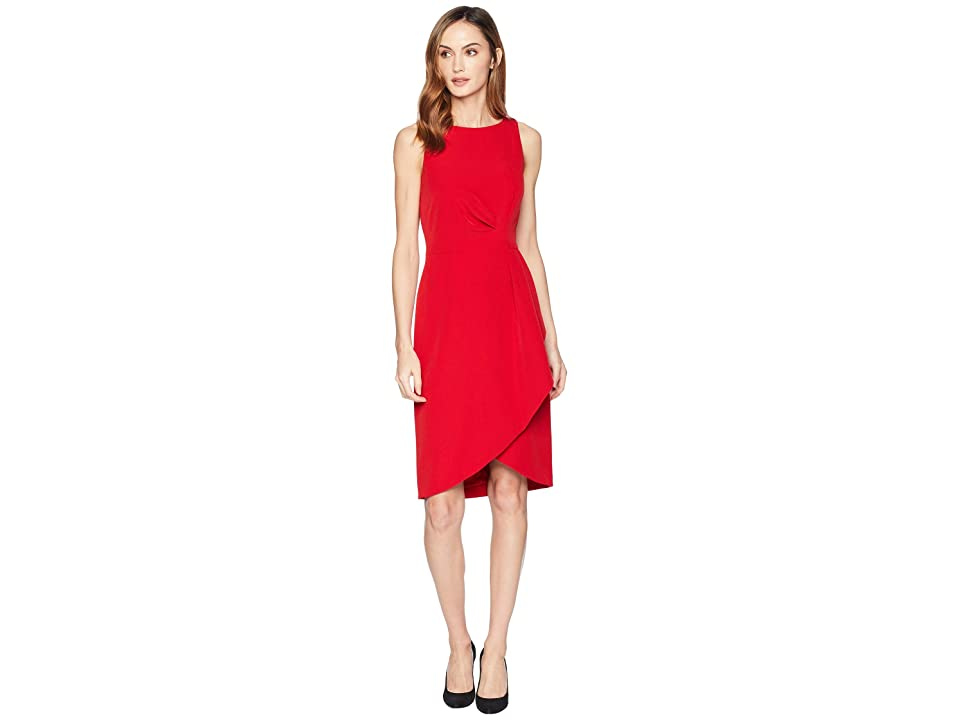 Tahari by ASL Side Draped Sleeveless Crepe Dress (Cardinal Red) Women