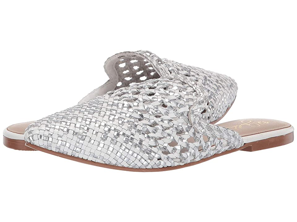 Image of 42 GOLD Corra (Silver/White Leather) Women's Flat Shoes