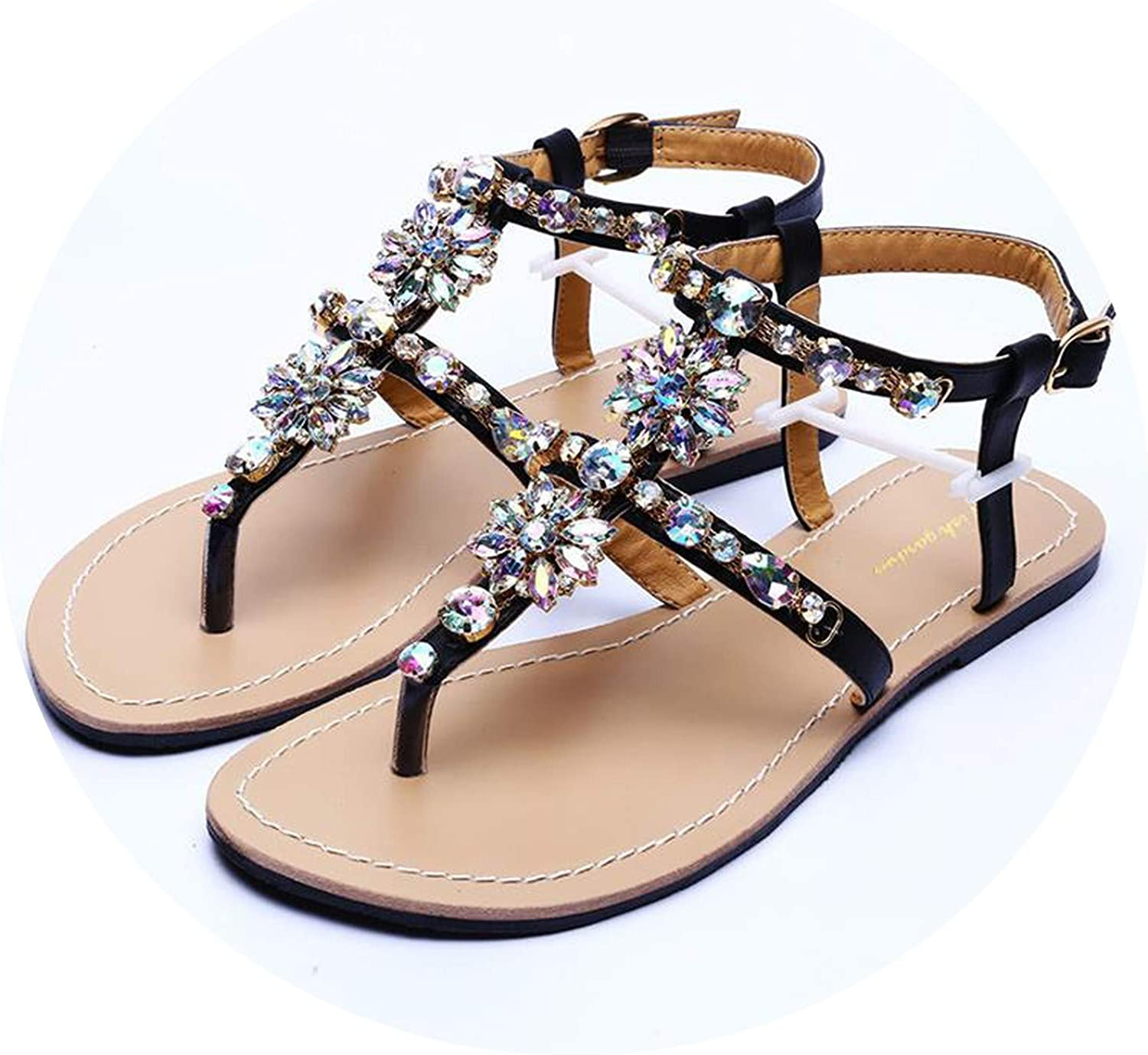 Efficiency 2019 New Women`s Beach Shining Rhinestones shoes Summer Bohemia Diamond Sandals T-Strap Thong flip Flops