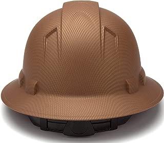 Full Brim Hard Hat, Adjustable Ratchet 4 Pt Suspension, Durable Protection safety helmet, Graphite Pattern Design, Copper Matte, by Acerpal