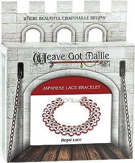 Weave Got Maille Japanese Chain Maille Bracelet Kit-Regal Lace, Marsala/Silver