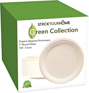 Compostable Luncheon Plates- Eco Friendly Natural Bagasse Sugarcane Dinnerware Set, 100-Count, 7 Inch