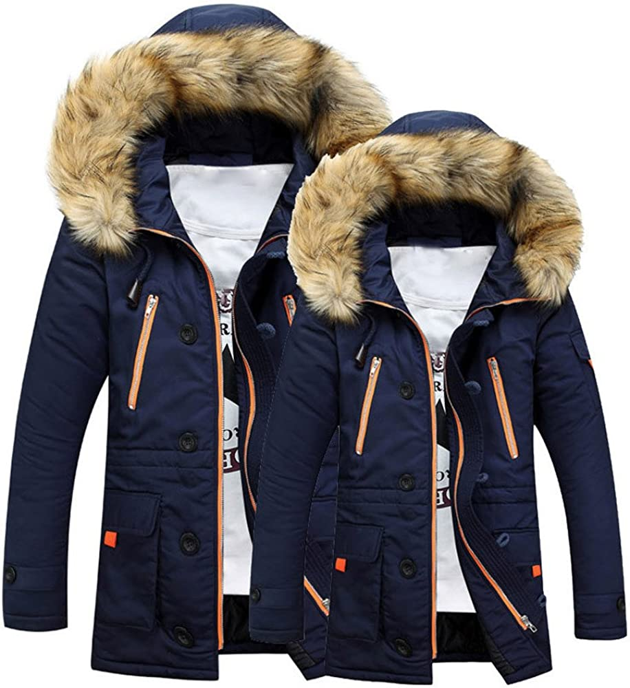 Gocheaper_Clothes Unisex Outdoor Fur Wool Fieece Coat Women Warm Winter Coat Men Long Hood Coat Jacket (Navy,XXL,XXL)