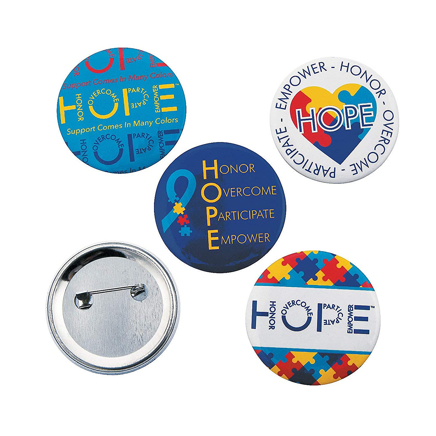 Fun Express - Autism Hope Buttons - Jewelry - Pins - Novelty Buttons - 12 Pieces