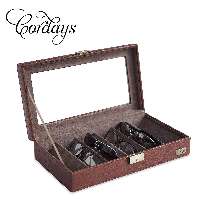 CORDAYS - Estuche Expositor para 6 Gafas con Vitrina de Cristal y Cerradura con Llave Caja Expositora Gafas - Hecho a Mano en Piel Sintática- en Color Marrón CDM-00028: Amazon.es: Amazon.es