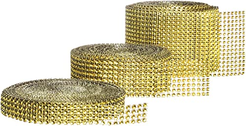 Rhinestone Diamond Bling Wrap Ribbon for Wedding Cake, Party, Holiday & Home Decoration, Gold 4/8/16 Rows, (3 Rolls) 10 YDS EA.