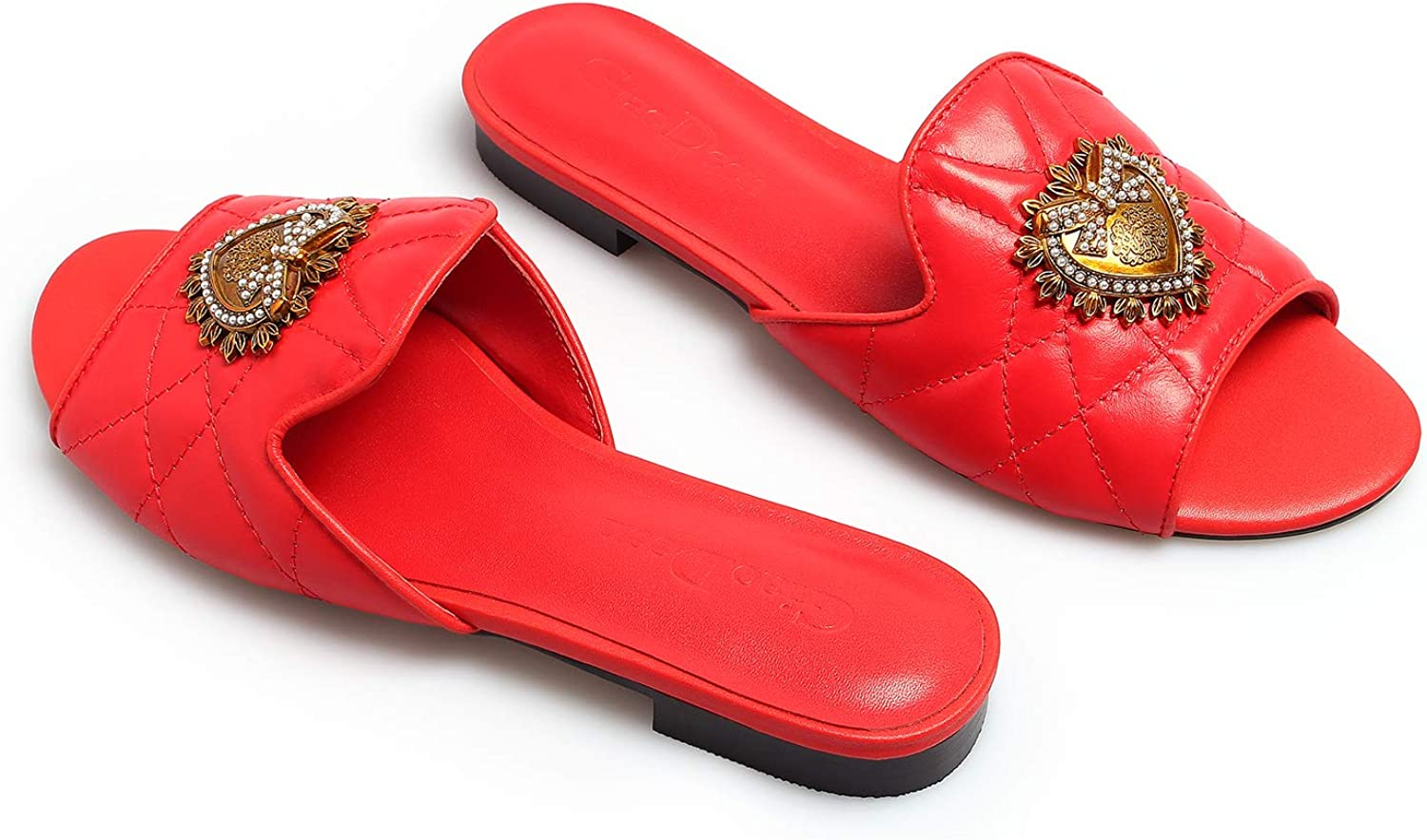 GiaoDeen Women's Flat Comfort Slide Sandals for Party Dress Genuine Leather Slip on Shoes