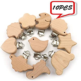 10pc Baby Pacifier Clip Natural Beech Wood Teething Ring Baby Nursiing Chewable Teether Children Clips Soother Holder DIY Teething Accessories