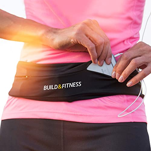 Running Belt, Fitness Belt, Flip Waist Belt with Key Clip, Fits All Phone Sizes. Unisex. for Gym Workouts, Exercise, ...
