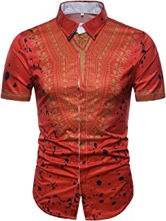 Cottory Mens Short Sleeve African Digital Printed Button Down Shirt Fashion Sport Tee Shirts