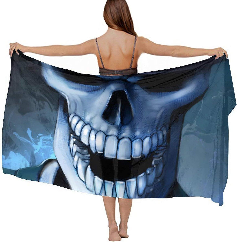 SWEET TANG Women Short Sarongs Bikini Wraps Chiffon Cover Ups Beach Soft Wraps for Cruises, Pool, Lake, Halloween Scary Horror Skull