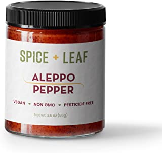Premium Aleppo Pepper by SPICE + LEAF - Vegan Pesticide Free Red Middle Eastern Mild Pepper Flakes, 3.5 oz