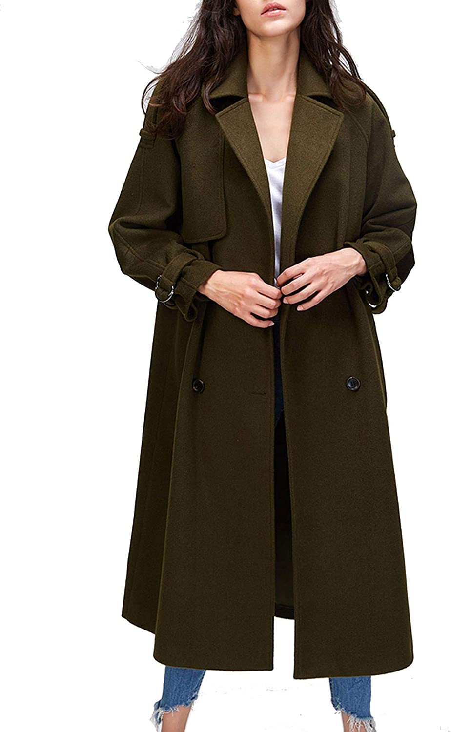 I'm good at you Autumn Winter New Women's Casual Wool Blend Trench Coat Oversize Double Breasted XLong Coat with Belt