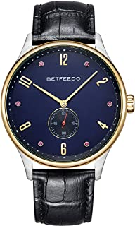 BETFEEDO Men's Waterproof Stainless Steel Quartz Analog Watch with Genuine Leather Band