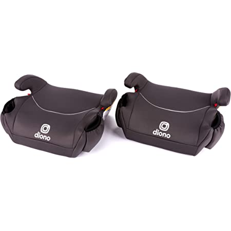 Diono Solana, Pack of 2 Backless Booster Car Seats, Lightweight, Machine Washable Covers, 2 Cup Holders, Charcoal