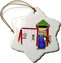 3dRose Porcelain Ornament, ORN_254000_1, 3 inch Snowflake Porcelain Ornament