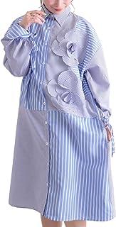 [サワ アラモード] 可憐 咲く 花 モチーフ アシメ シャツ ワンピース レディース ファッション ワンピース ブルー ストライプ ミモレ丈 長袖