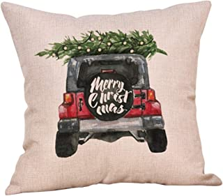 Unionm 100# Pillow Covers Christmas Decor Throw Pillow Case Linen Blend Beige Christmas Tree Car Merry Christmas Theme Square 45 x 45 cm 18 x 18 inch Cushion Cover for Home Sofa Car 1 Pack - 2