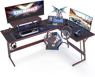 DESINO L Shaped Gaming Desk Computer Corner Desk PC Writing Table Gamer Workstation for Home Office, Black