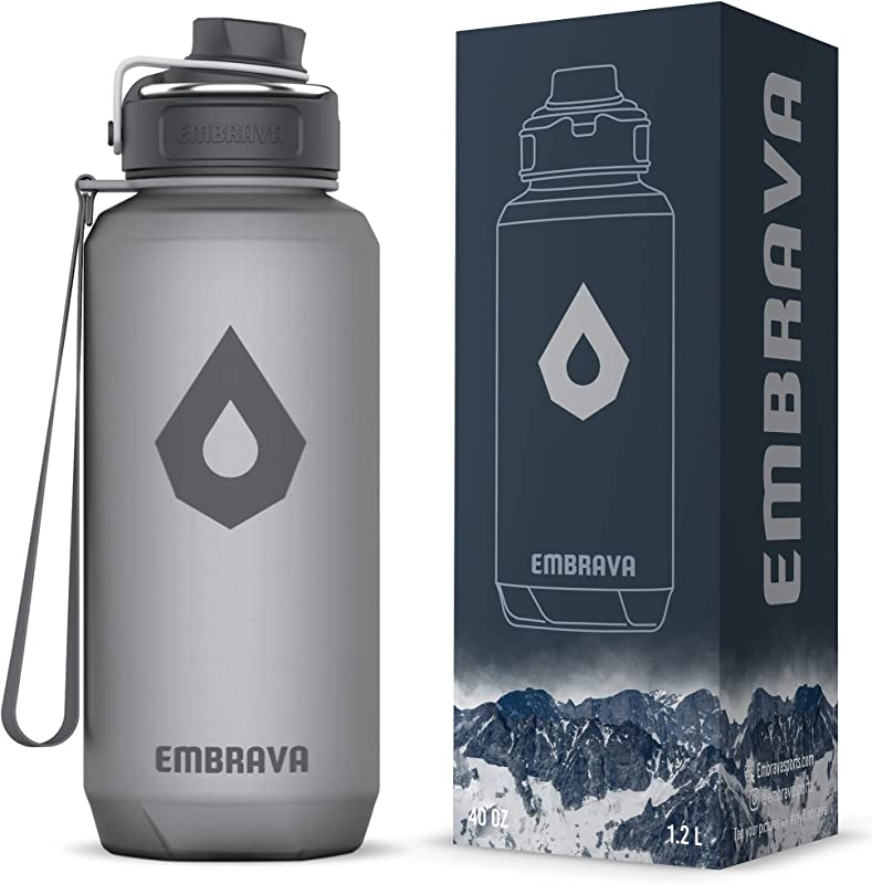 Embrava 40oz Water Bottle Large With Travel Carry Ring Wide Leak Proof Drink Spout Heavy Duty BPA BPS Free Tritan Plastic Sports Camping Gym Fitness Outdoor