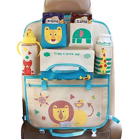 Ergocar Karikatur Auto Rückenlehnenschutz Auto Aufbewahrungstasche Auto Organizer Wasserdicht Trittschutz Kick Matten Mit Isolierungs Beutel Löwe 1 Pack Baby