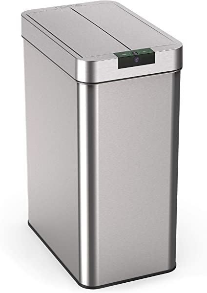 HOmeLabs 21 Gallon Automatic Trash Can For Kitchen Stainless Steel Garbage Can With No Touch Motion Sensor Butterfly Lid And Infrared Technology