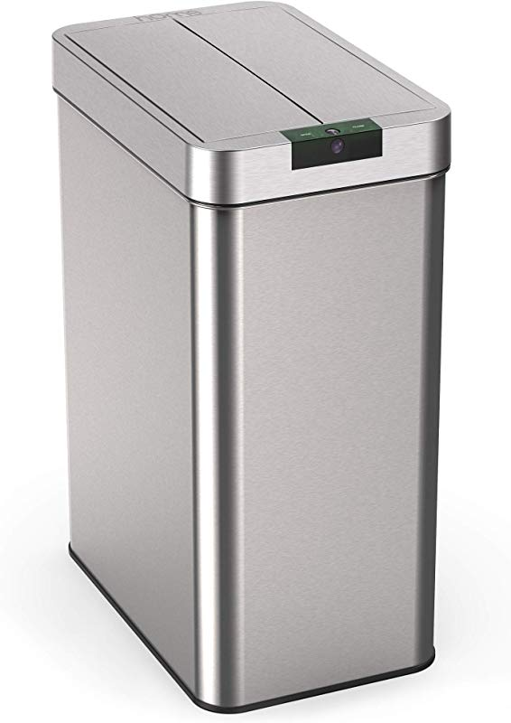 HOmeLabs 13 Gallon Automatic Trash Can For Kitchen Stainless Steel Garbage Can With No Touch Motion Sensor Butterfly Lid And Infrared Technology