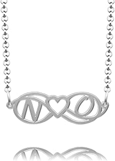 Infinite Memories Sterling Silver Love Heart Infinity Monogram Personalized Custom Made Name Necklace of Best Gift
