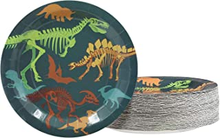 Dinosaur Plates - 80-Pack Dino Plates with Fossil Skeleton Print, Dinosaur Themed Kids Birthday Party Supplies, 9-Inch Round Cake Plates, Lunch, Dessert