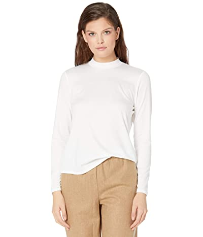 Eileen Fisher Mock Neck Long Sleeve Top (White) Women