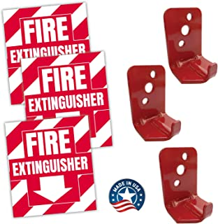 Fire Extinguisher Sign Sticker Bracket Wall Mount - Pack of 3 Self Adhesive Decals Weatherproof UV Protected AND 3 5 lb Hooks