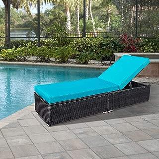 Outdoor Patio Chaise Lounge Chair, Wicker Chaise Lounge Chair Additional Lounge Chair for Green4ever Patio Furniture, Blue Cushion