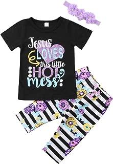 YAZAD 3Pcs Kids Toddler Baby Girl Short Sleeve T-Shirt Tops+Floral Pants+Headband Outfits