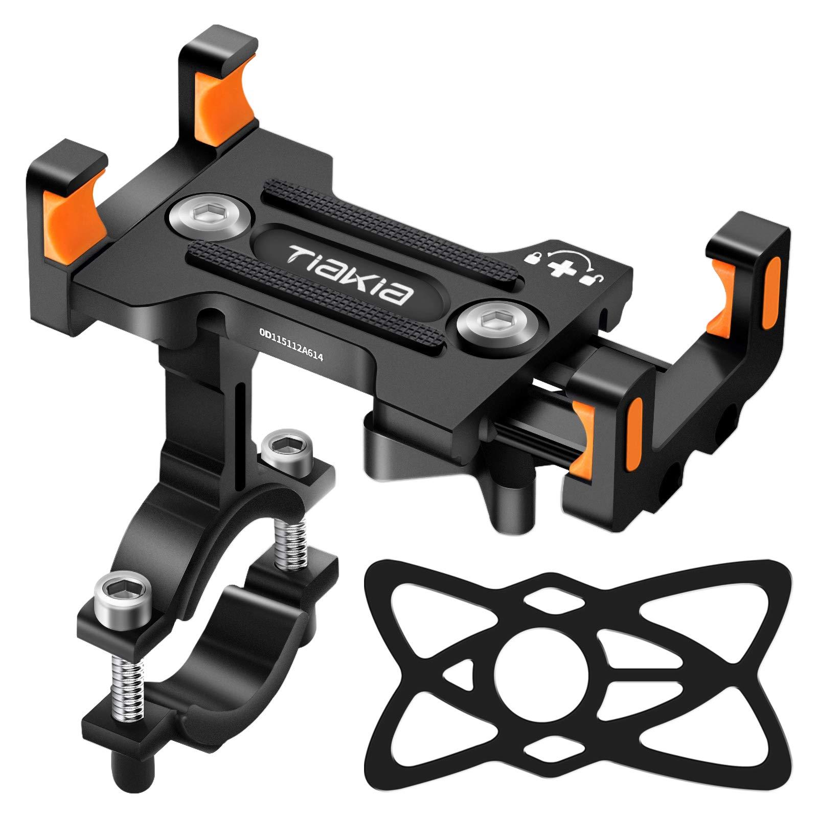 Soporte Movil Bicicleta, Tiakia Soporte Movil Moto con Rotación 360°, Soporte para Teléfono de Bicicleta de Aleación de Aluminio, Soporte Movil Bici Universal para