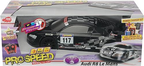Dickie Spielzeug 201119356 - RC Audi R8 24H NürburGrüng LeMansSeries, 2-Kanal Funkfernsteuerung, 27 oder 40 MHz (sortiert), Ma ab 1 10, Schwarz
