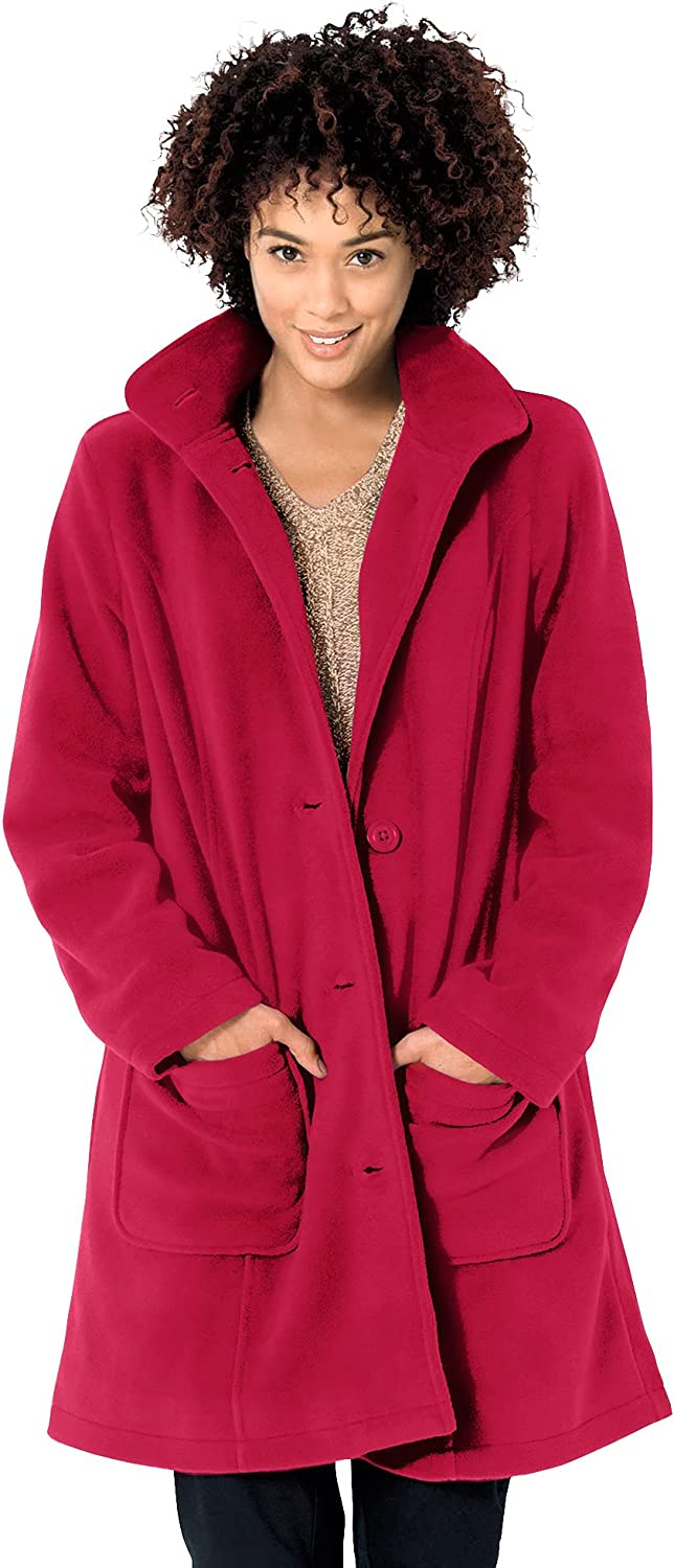 Woman Within Women's Plus Max Ranking TOP4 74% OFF Size Hooded Fleece Coat A-Line