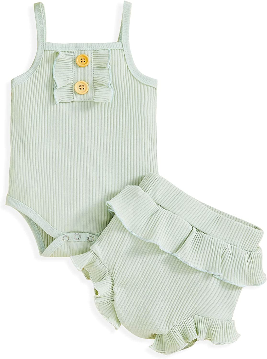 Baby Girls Summer Outfits Infant Halter Solid Romper Ruffle Shorts 2pcs Clothes