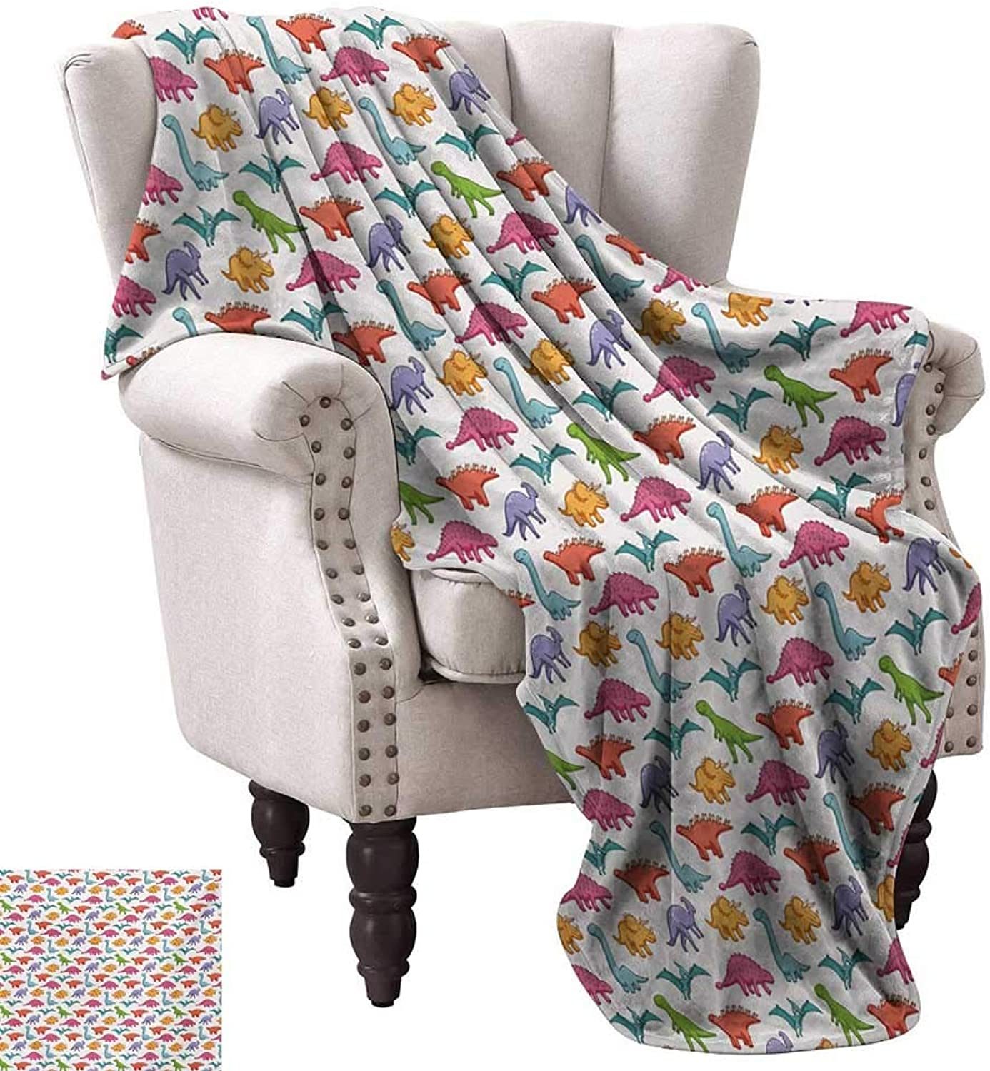 Super Soft Lightweight Blanket,Variety of Dinosaurs in colorful Cartoon Style Cute Archeology Pattern for Kids 70 x60 ,Super Soft and Comfortable,Suitable for Sofas,Chairs,beds
