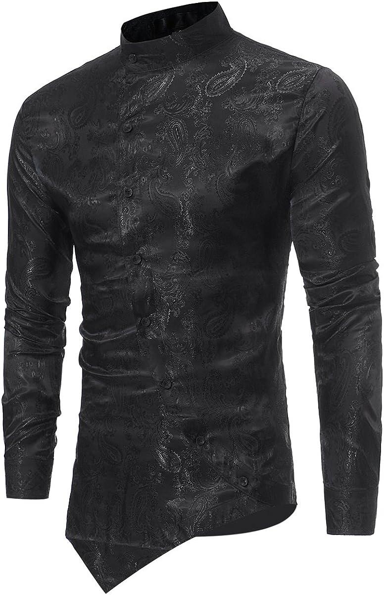 Camisas de Vestir Casual para Hombre Camisas Steampunk Blancas y Negras de Vino Negro Camisa de Manga Larga Slim Fit con Cuello Abotonado con Cuello ...