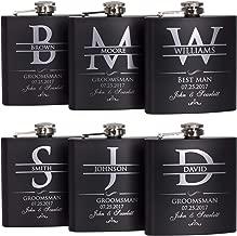P Lab Set Of 6 - Groomsmen Gift - Groomsman Gifts For Wedding, Wedding Favor Customized Flask Set w Optional Gift Box - Engraved 6oz Stainless Steel Flask Custom Personalized Flask Gift Set, Black #2