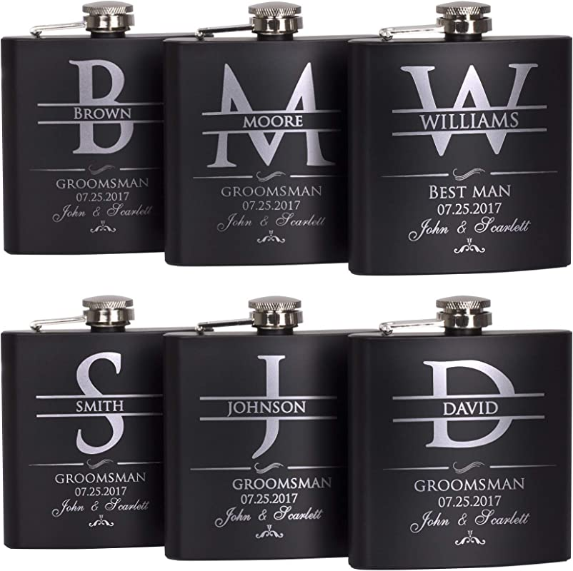 P Lab Set Of 6 Groomsmen Gift Groomsman Gifts For Wedding Wedding Favor Customized Flask Set W Optional Gift Box Engraved 6oz Stainless Steel Flask Custom Personalized Flask Gift Set Black 2